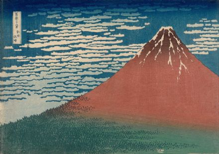 Hokusai, Katsushika: Fine Wind, Clear Weather. Also known as Red Fuji. Fine Art Print/Poster. Sizes: A4/A3/A2/A1 (003939)